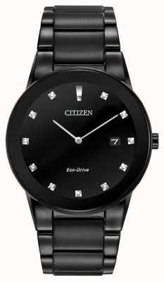 Citizen | мужская аксиома эко-драйв | черный бриллиант циферблат | черный браслет AU1065-58G