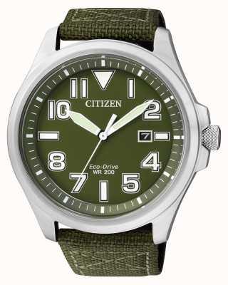 Citizen | мужской эко-драйв | зеленый нейлоновый ремешок | зеленый циферблат | AW1410-32X