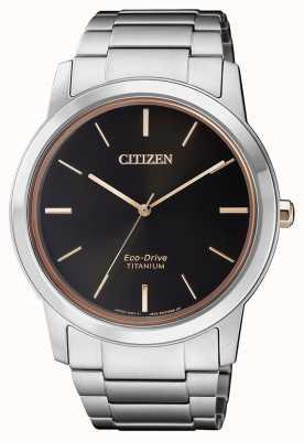 Citizen | мужской эко-драйв титан wr50 | черный циферблат | серебряный браслет AW2024-81E