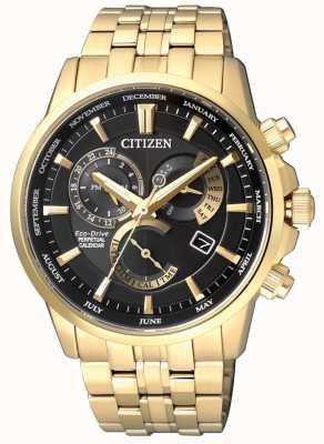 Citizen | мужской эко-драйв калибра 8700 | черный циферблат | золотой тон | BL8142-84E