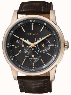 Citizen | мужской эко-драйв | коричневый кожаный ремешок | черный хронограф | BU2013-08E