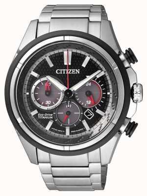 Citizen | мужской эко-драйв | титановый браслет | черный циферблат | CA4241-55E