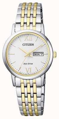 Citizen | женский эко-драйв | двухцветный браслет | серебряный циферблат | EW3254-87A