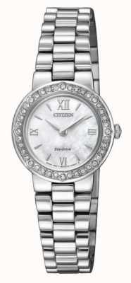 Citizen | женский эко-драйв | хрустальный футляр | серебряный браслет | EW9820-89D