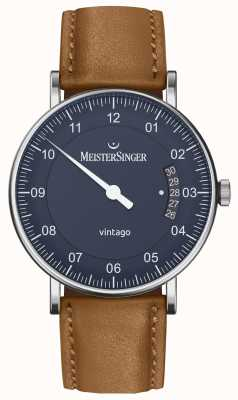 MeisterSinger | мужская винтаго | автоматический | коричневая кожа | синий циферблат VT908
