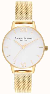 Olivia Burton | женская | белый циферблат | браслет из золотой сетки | OB16MDW35