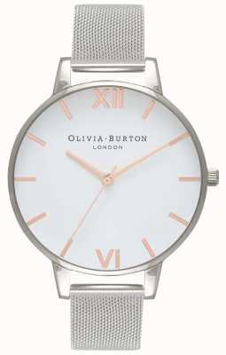 Olivia Burton | женская | белый циферблат | браслет из серебряной сетки | OB16BD97