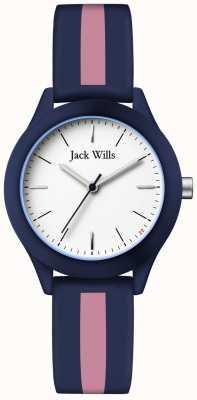 Jack Wills | женский союз | белый циферблат | темно-розовый / розовый силиконовый ремешок | JW008BLPST