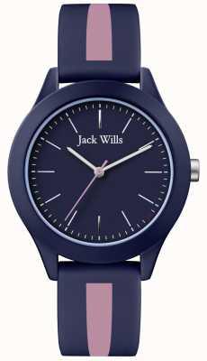 Jack Wills | мужской союз | темно-циферблат | розовый / темно-синий силиконовый ремешок | JW009BLPST