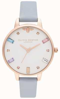 Olivia Burton | женская | радужная пчела | синий ремешок для мела | OB16RB12