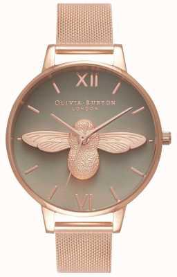 Olivia Burton | женская | 3d пчела | браслет из розового золота | серый циферблат | OB16AM117
