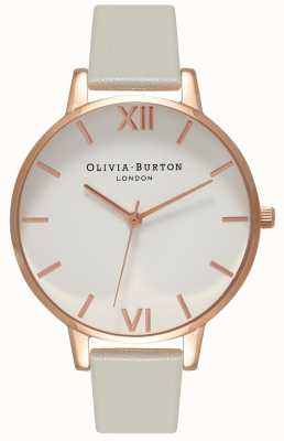 Olivia Burton | женская | белый циферблат | серый кожаный ремешок | OB15BDW02