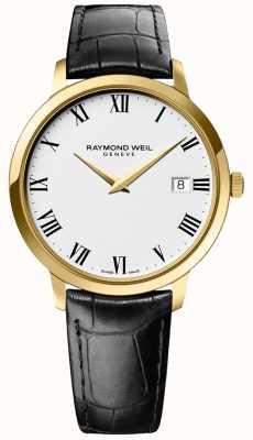 Raymond Weil | мужская токката | золотой кейс | черный кожаный ремешок | 5588-PC-00300