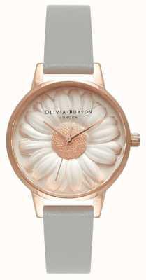 Olivia Burton | женская | 3d ромашка | серый кожаный ремешок | OB15EG50