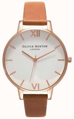 Olivia Burton | женская | большой белый циферблат | коричневый кожаный ремешок | OB16BDW19