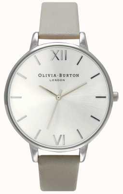 Olivia Burton | женская | серебряный циферблат | серый кожаный ремешок | OB15BD57
