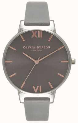 Olivia Burton | женская | большой серый циферблат | серый кожаный ремешок | OB16BD90