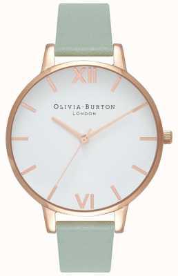 Olivia Burton | женская | большой белый циферблат | ремешок из мятной кожи | OB16BDW27