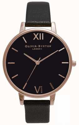 Olivia Burton | женская | черный циферблат | черный кожаный ремешок | OB15BD66