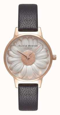 Olivia Burton | женская | 3d ромашка | черный кожаный ремешок | OB16FS97