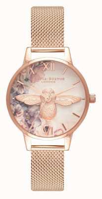 Olivia Burton | женская | акварель цветочные пчелы | сетка из розового золота | OB16PP40