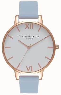 Olivia Burton | женская | большой белый циферблат | мел синий ремешок | OB16BDW18