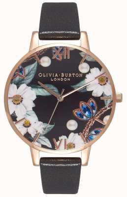 Olivia Burton | женская | украшенные драгоценностями цветы | черный кожаный ремешок | OB16BF04