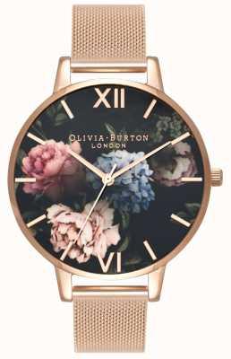 Olivia Burton | женская | темный букет циферблат | браслет из розового золота | OB16WG52