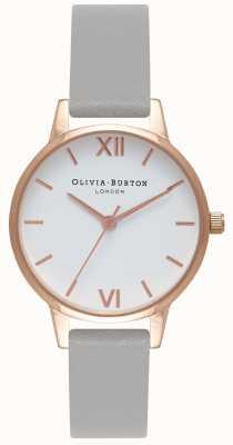 Olivia Burton | женская | белый циферблат | серый кожаный ремешок | OB16MDW05