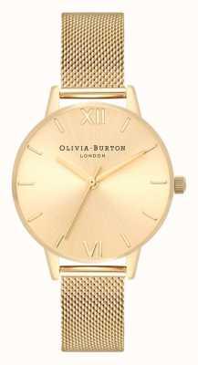 Olivia Burton | женская | солнечный миди-циферблат | браслет из золотой сетки | OB16MD85