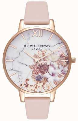 Olivia Burton | женская | мраморные цветы | ремешок из кожи персика | OB16CS12