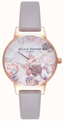 Olivia Burton | женская | мраморные цветы | серый лиловый кожаный ремешок | OB16CS14