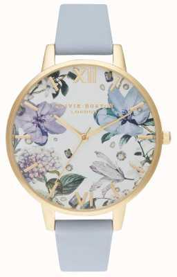 Olivia Burton | женская | украшенные драгоценностями цветы | мел синий кожаный ремешок | OB16BF21