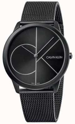 Calvin Klein Минимальный | черный сетчатый браслет | черный циферблат | K3M5T451