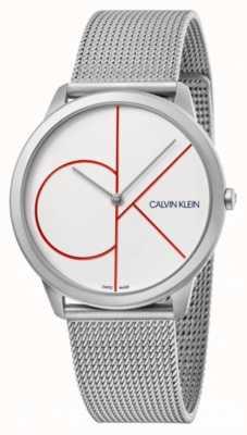 Calvin Klein Минимальный | браслет из серебряной сетки | белый циферблат | K3M51152