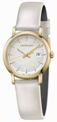 Calvin Klein | женский белый кожаный ремешок | серебряный циферблат | K9H235L6
