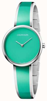 Calvin Klein | женская соблазнить | браслет из зеленой смолы из нержавеющей стали | K4E2N11L