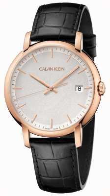Calvin Klein | мужские минимальные | черный кожаный ремешок | белый циферблат | K9H216C6