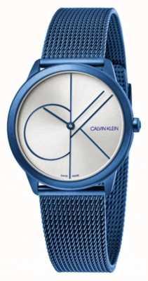 Calvin Klein Минимальный | синий сетчатый браслет | серебряный циферблат | K3M52T56