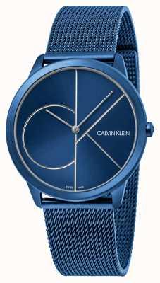 Calvin Klein Минимальный | синий сетчатый браслет | синий циферблат | K3M51T5N