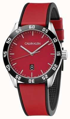 Calvin Klein | мужской полный красный резиновый ремешок | красный циферблат | K9R31CUP