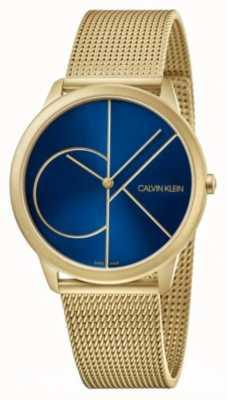 Calvin Klein Минимальный | браслет из золотой сетки | синий циферблат | K3M5155N