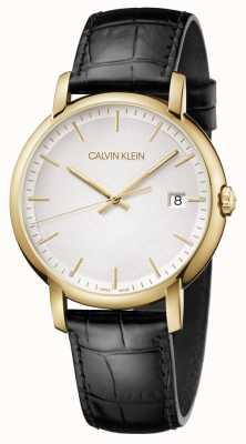 Calvin Klein | мужские минимальные | черный кожаный ремешок | белый циферблат | K9H215C6