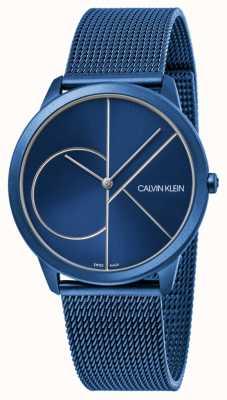 Calvin Klein | женская | минимальный | синий сетчатый ремень | синий циферблат | K3M52T5N