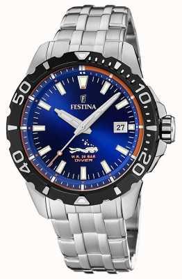 Festina | мужские водолазы | браслет из нержавеющей стали | синий циферблат | F20461/1