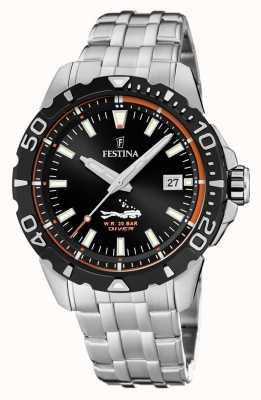 Festina | мужские водолазы | браслет из нержавеющей стали | черный циферблат | F20461/3