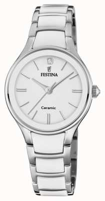 Festina | женская керамика | серебряный / белый браслет | белый циферблат | F20474/1
