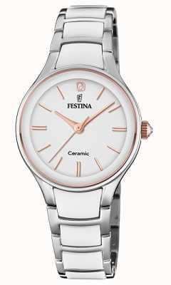 Festina | женская керамика | серебряный / белый браслет | розовое золото / белый F20474/2