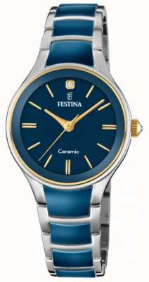 Festina | женская керамика | серебряный / синий браслет | синий циферблат | F20474/3