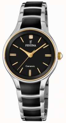 Festina | женская керамика | серебряный / черный браслет | черный циферблат | F20474/4